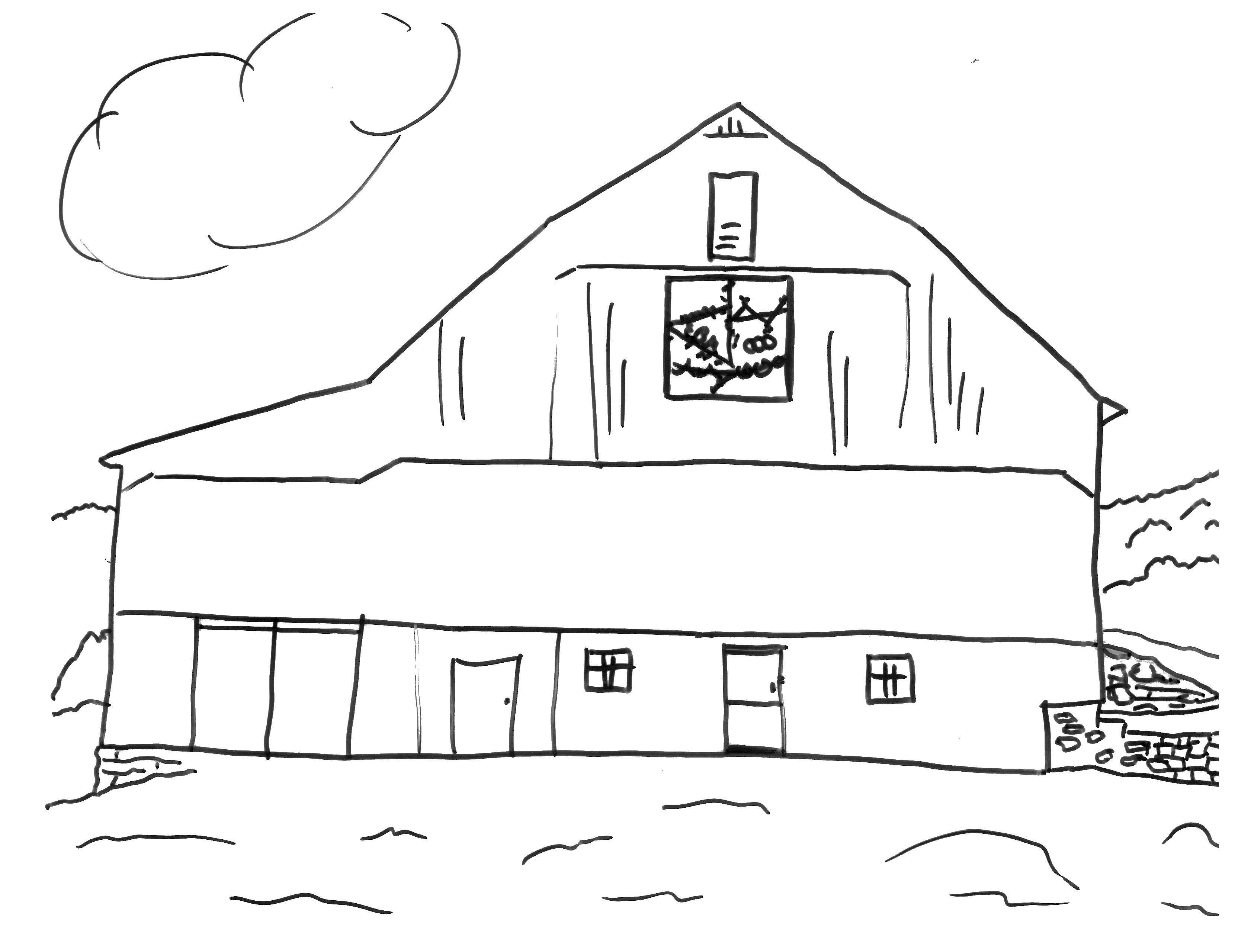 Раскраска Двух этажный дом Скачать ферма, дом.  Распечатать ,ферма,