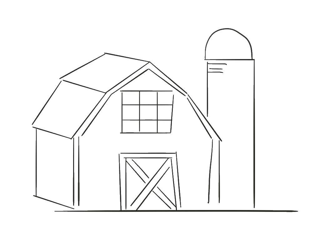 Раскраска Фермерский сарай Скачать ферма.  Распечатать ,ферма,