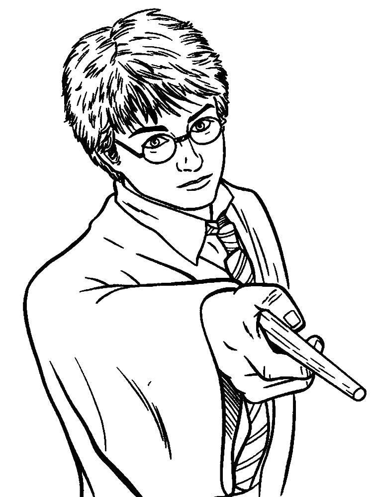 Раскраска Гарри поттер с волшебной палочкой. Скачать гарри поттер, фильм, книга.  Распечатать ,гарри поттер,