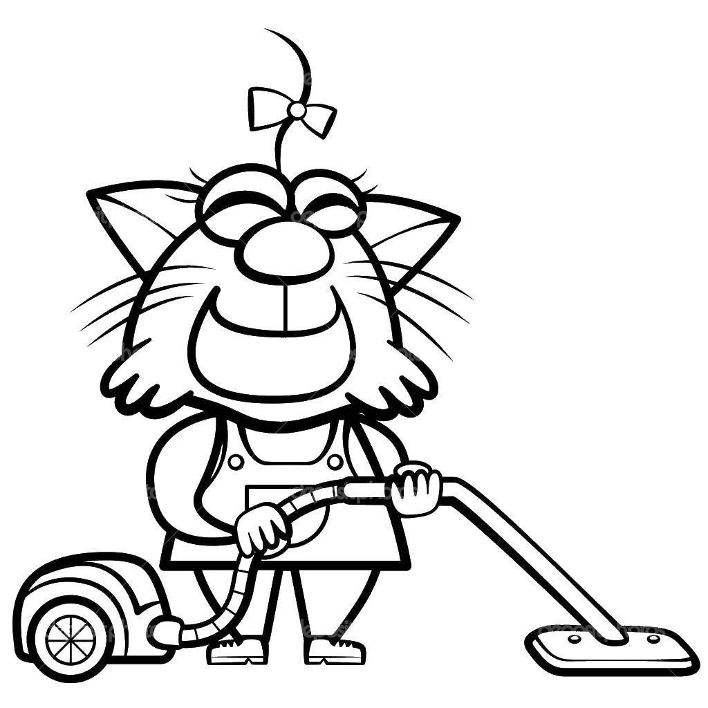 Раскраска Кошечка пылесосит Скачать уборка, кошечка.  Распечатать ,Уборка,