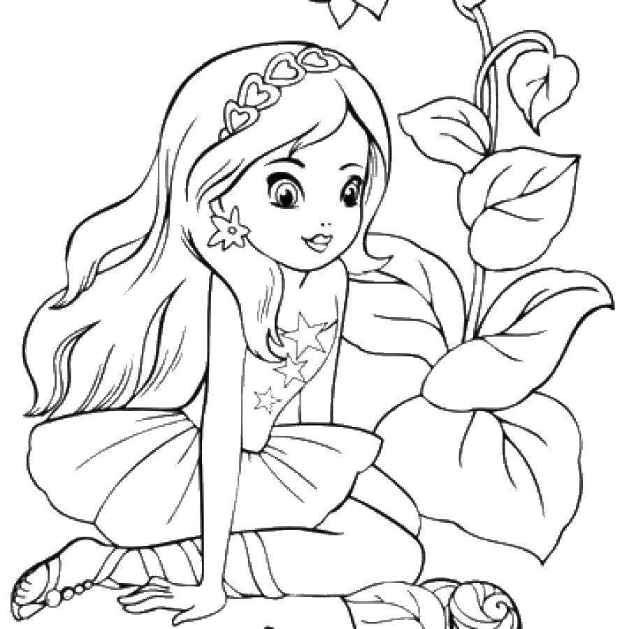 Раскраска Красивая девочка Скачать для девочек, платье, красота, девочка.  Распечатать ,Для девочек,