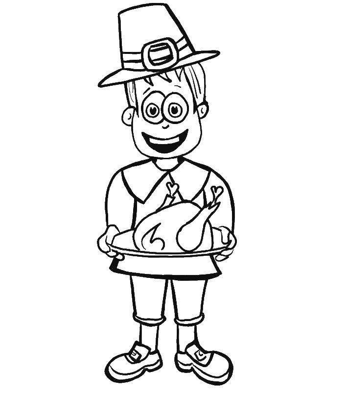 Раскраска Мужчина с индюшкой Скачать день благодорения.  Распечатать ,день благодорения,