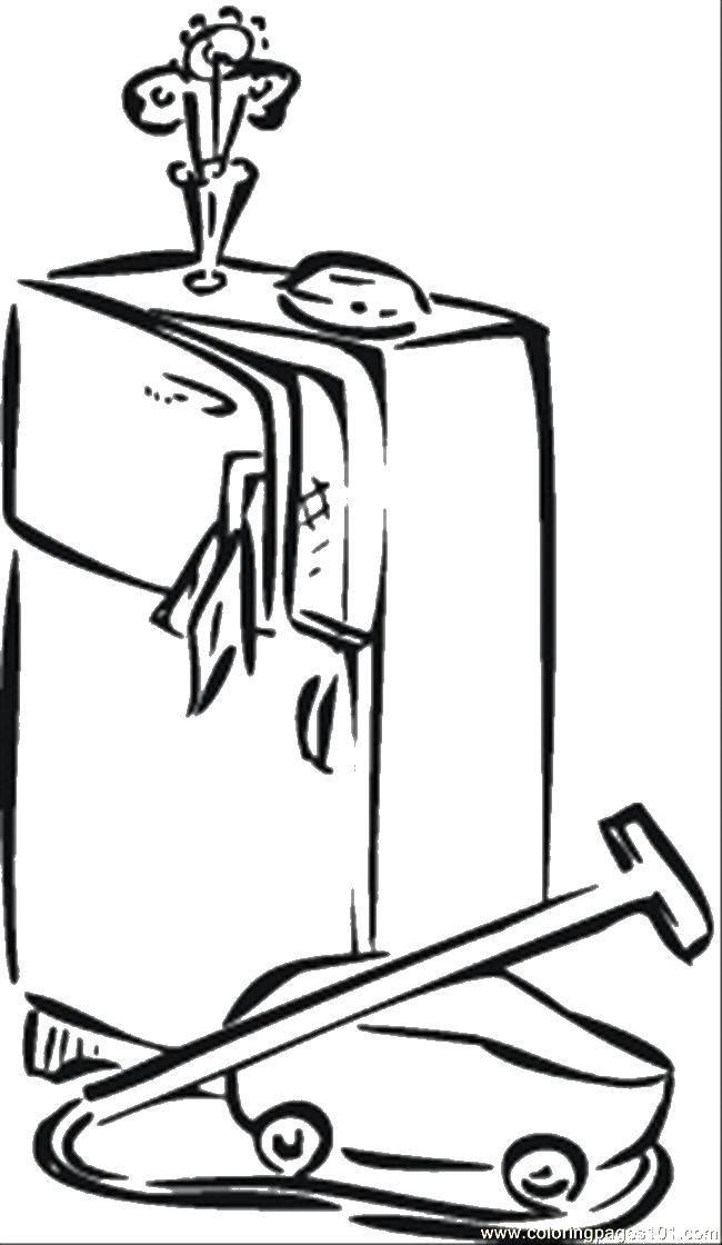 Раскраска Пылесос у холодильника Скачать Уборка.  Распечатать ,Уборка,