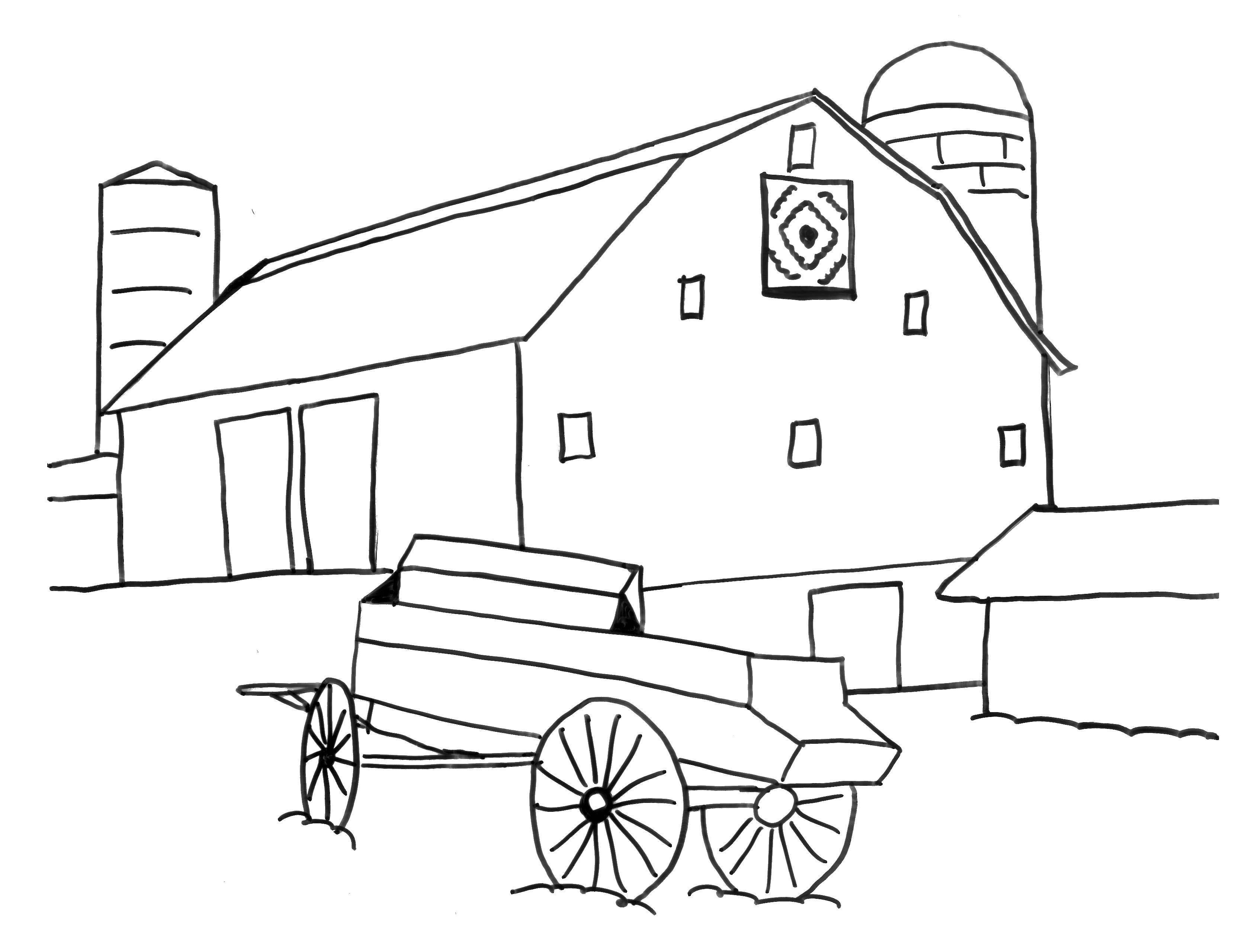 Раскраска Телега у дома Скачать ферма, животные.  Распечатать ,ферма,