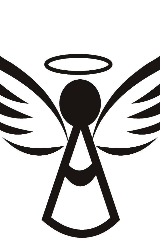 Раскраска Ангел с нимбом. Скачать ангел, нимб, крылья.  Распечатать ,ангелы,