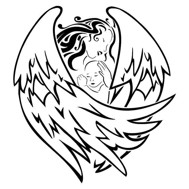 Раскраска Ангел укрывает ребенка. Скачать ангелы, крылья, ребенок.  Распечатать ,ангелы,