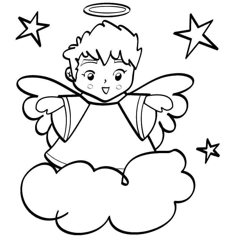 Раскраска Ангелочек на облаке. Скачать ангелы, крылья, небо.  Распечатать ,ангелы,