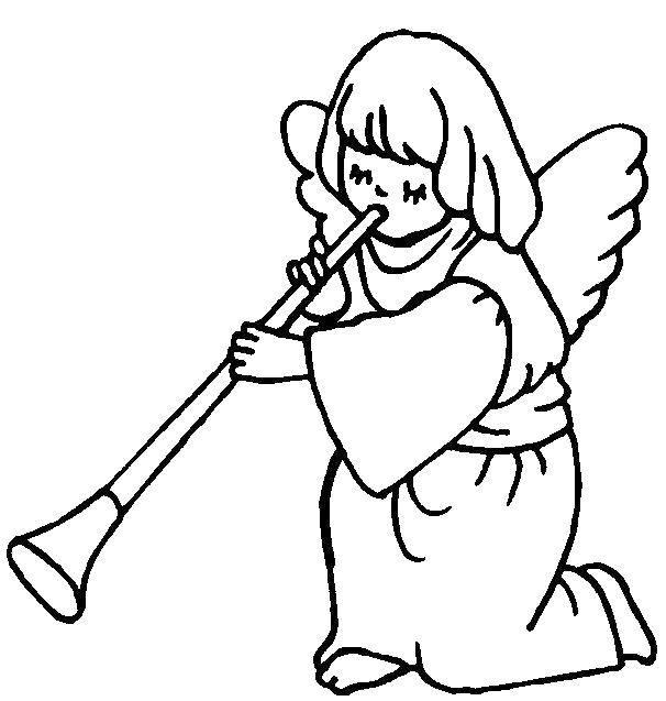 Раскраска Ангелочек с дудочкой. Скачать Ангел.  Распечатать ,ангелы,