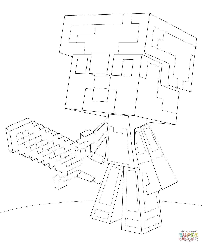 Раскраска Боец с мечом Скачать игры, майнкрафт, персонажи.  Распечатать ,майнкрафт,