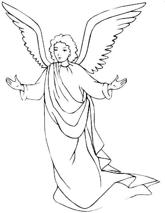 Раскраска Чудесный ангелочек. Скачать Ангел.  Распечатать ,ангелы,