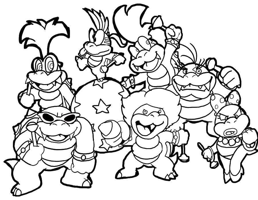 Раскраска Динозавры из марио. Скачать Игры, Марио.  Распечатать ,игры,