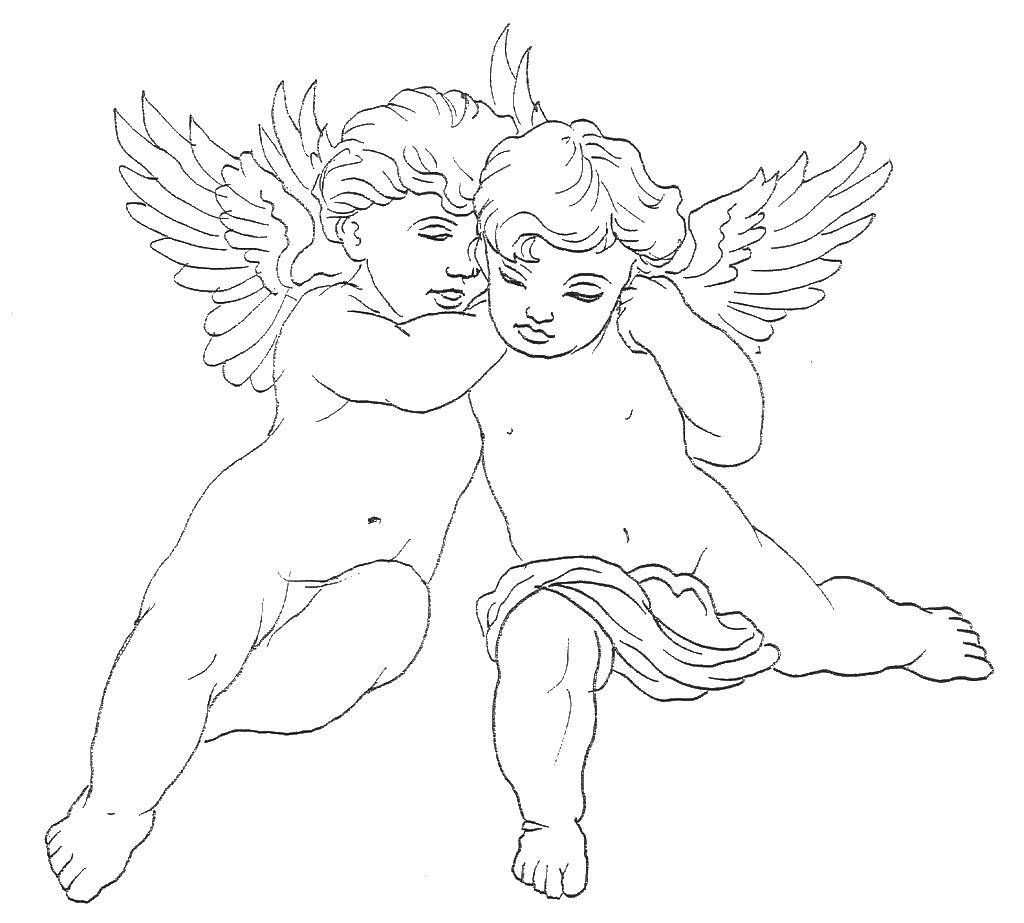 Раскраска Два ангелочка. Скачать ангелы, крылышки, детки.  Распечатать ,ангелы,