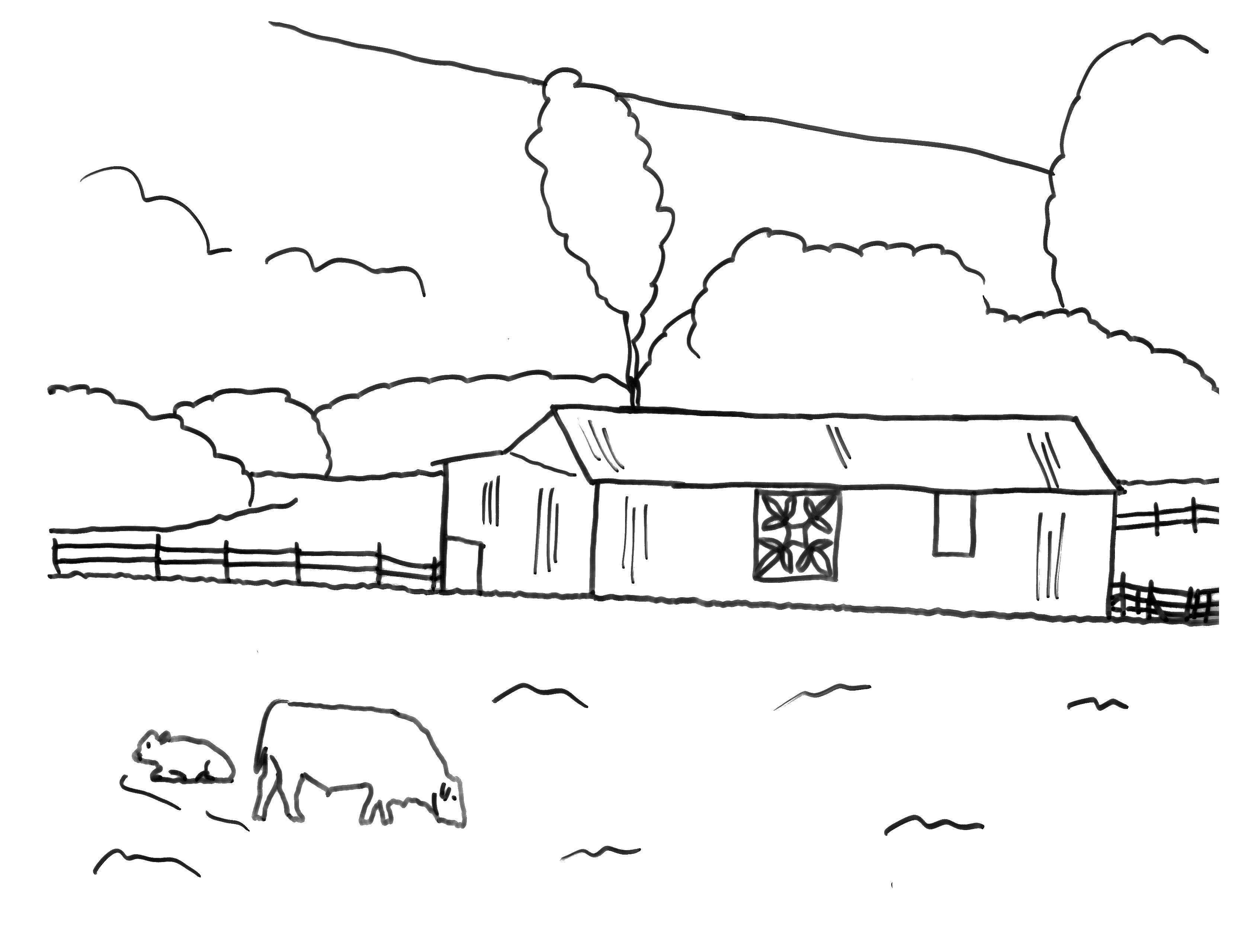 Раскраска Ферма и овечка Скачать ферма, овечка, луг.  Распечатать ,ферма,