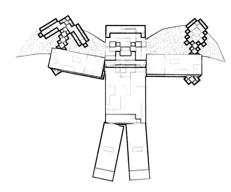 Раскраска Герой майнкрафта с оружием Скачать Игры, Майнкрафт.  Распечатать ,майнкрафт,