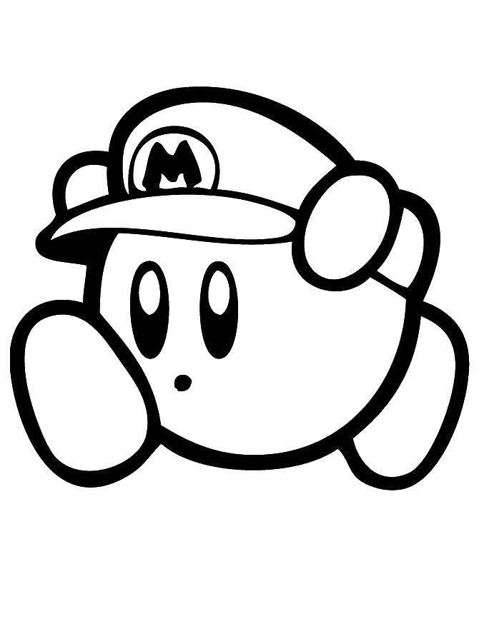 Раскраска Кепка марио. Скачать Игры, Марио.  Распечатать ,игры,