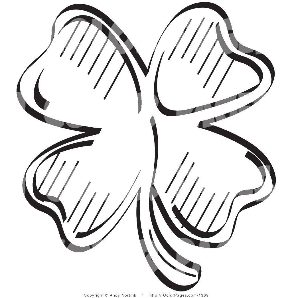 Раскраска Клевер с 4 листками. Скачать День Святого Патрика, прадзник.  Распечатать ,праздники,