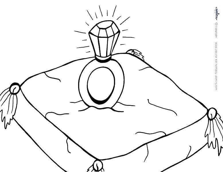 Раскраска Кольцо на подушечке. Скачать кольца, подушка.  Распечатать ,кольцо,