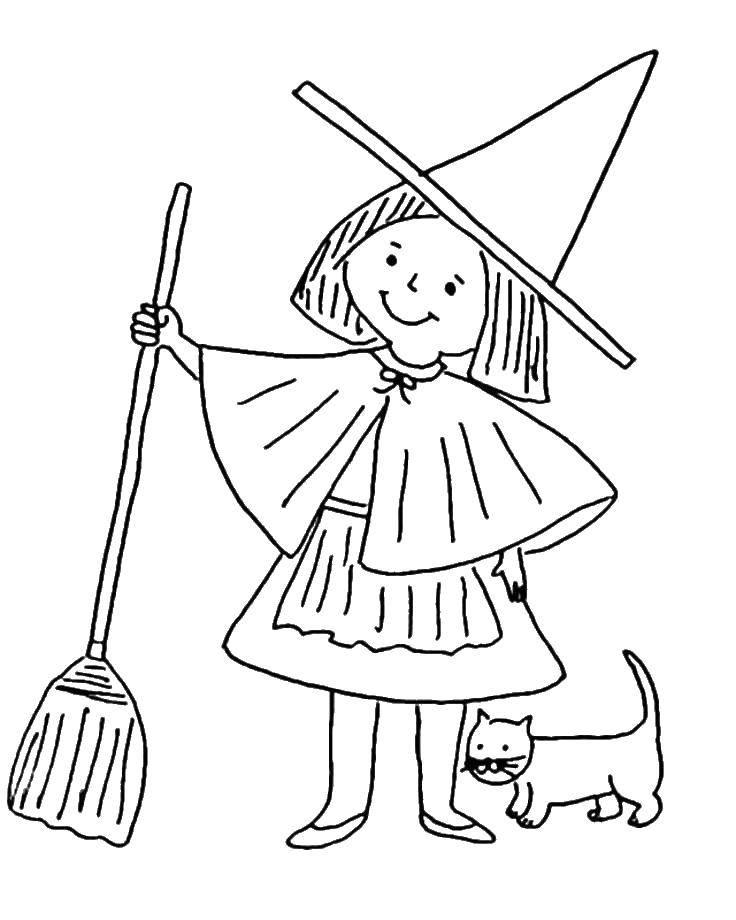 Раскраска Кот около ведьмы. Скачать Хэллоуин, ведьма, ночь, кот, метла.  Распечатать ,ведьма,