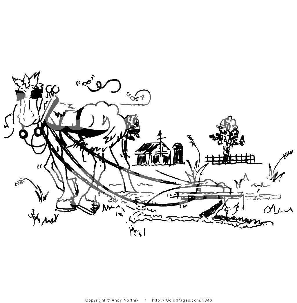 Раскраска Лошадь с плугом Скачать ферма.  Распечатать ,ферма,