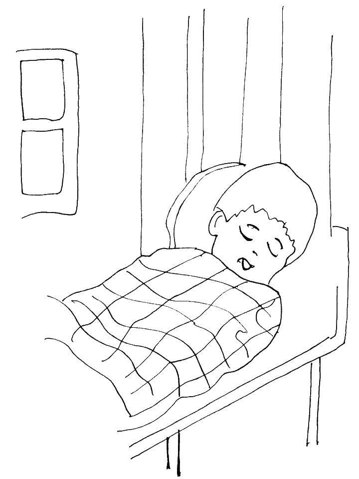 Раскраска Мальчик спит Скачать ,сон, мальчик, кровать,.  Распечатать