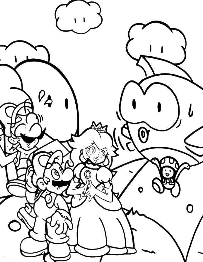 Раскраска Марио и луиджи нашли принцессу. Скачать Игры, Марио.  Распечатать ,игры,