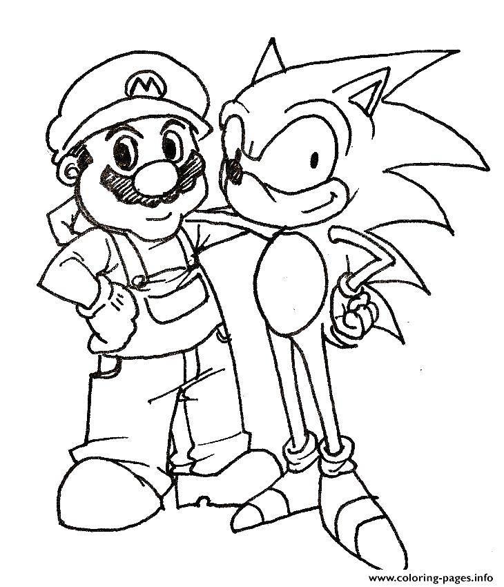 Раскраска Марио и соник икс Скачать игры. Марио, Соник Икс.  Распечатать ,Персонаж из игры,