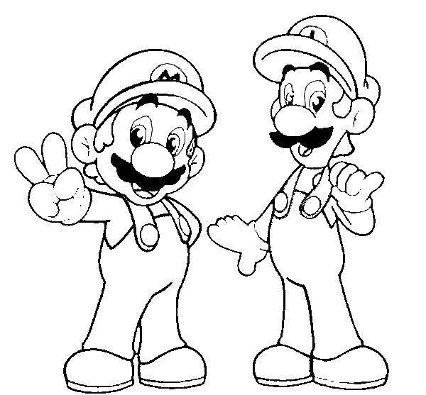 Раскраска Марио, луиджи. Скачать Игры, Марио.  Распечатать ,игры,
