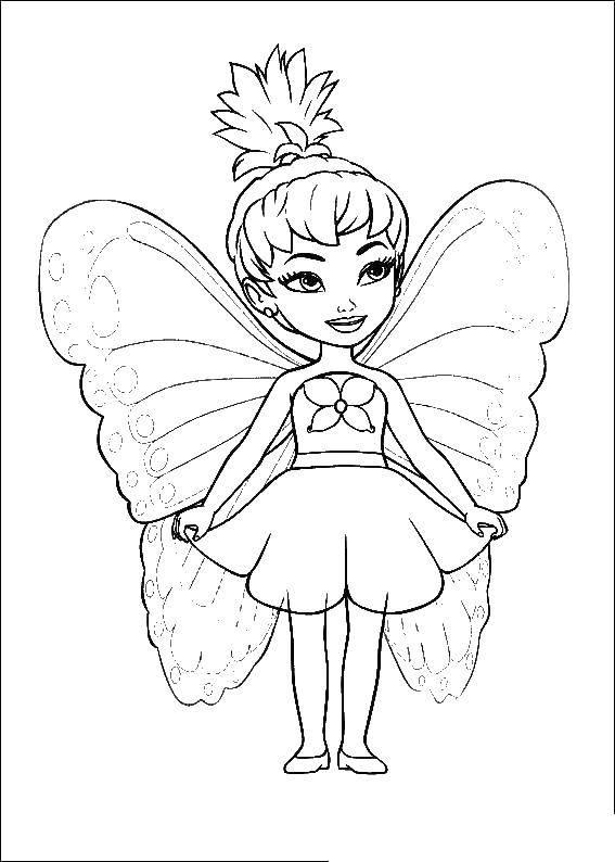 Раскраска Мини барби фея Скачать фея, бабочка.  Распечатать ,Фэнтези,