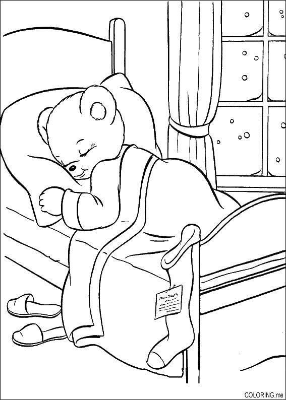 Раскраска Мишка спит в кроватке Скачать ,сон, мишка, кровать,.  Распечатать