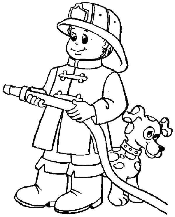 Раскраска Пожарный с собакой Скачать огонь, пожар, собака.  Распечатать ,Огонь,