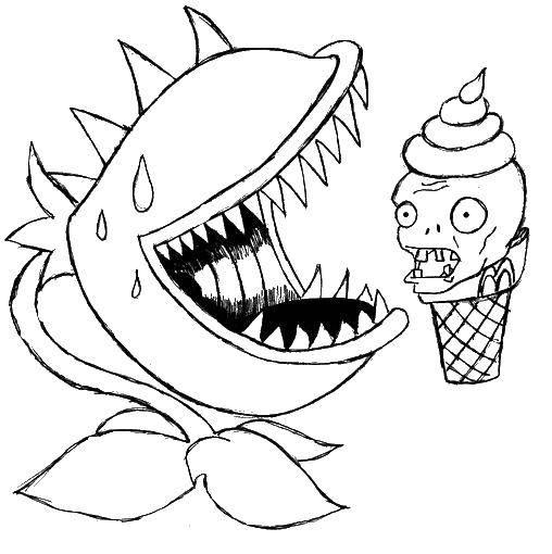 Раскраска Растение ест мороженое. Скачать Зомби против растений, игра.  Распечатать ,Зомби против растений,