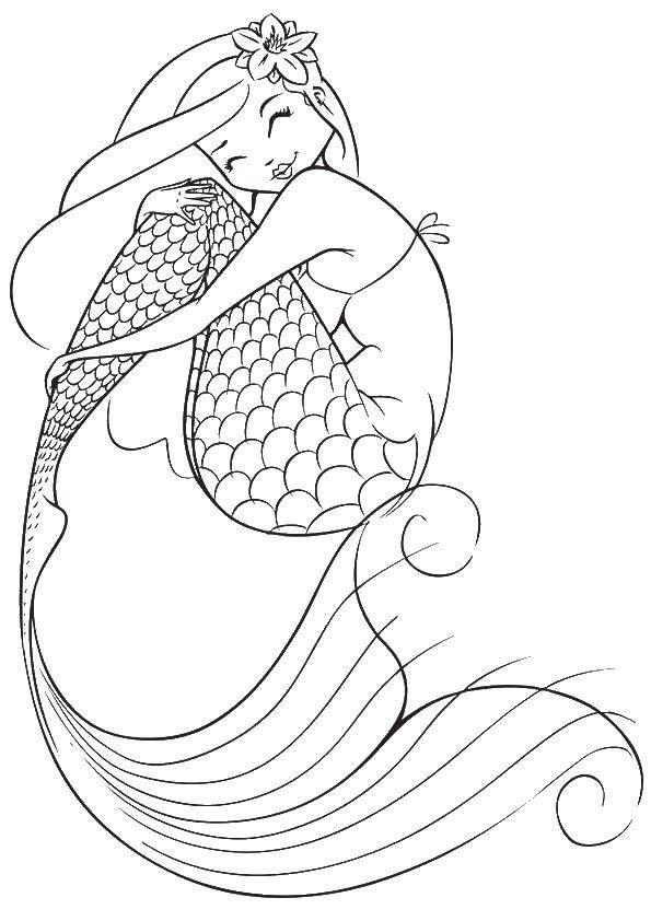 Раскраска Русалка с красивым хвостом Скачать ,фэнтези, девушка, русалка,.  Распечатать