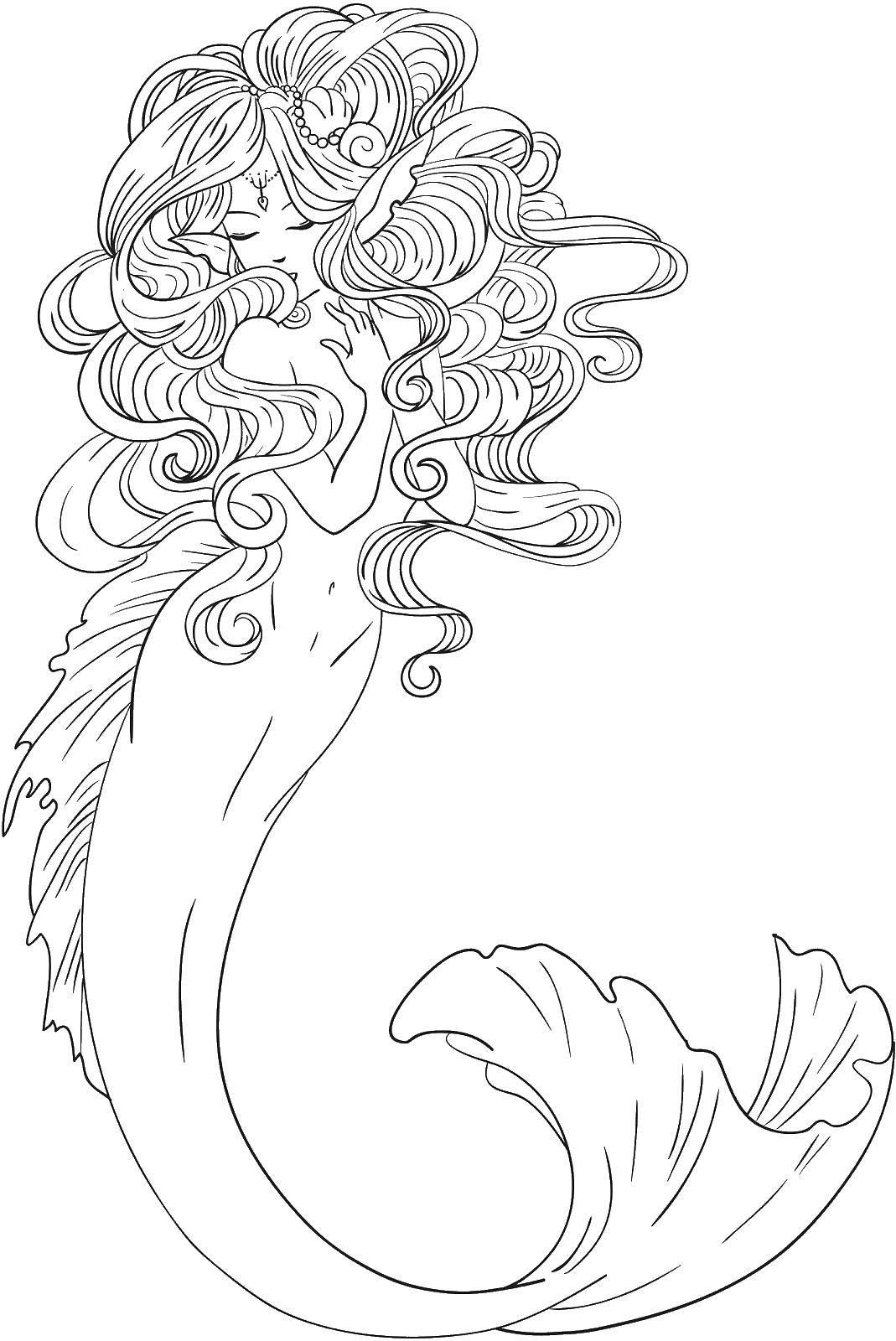 Раскраска Русалка с шикарными волосами Скачать ,фэнтези, девушка, русалка, волосы,.  Распечатать