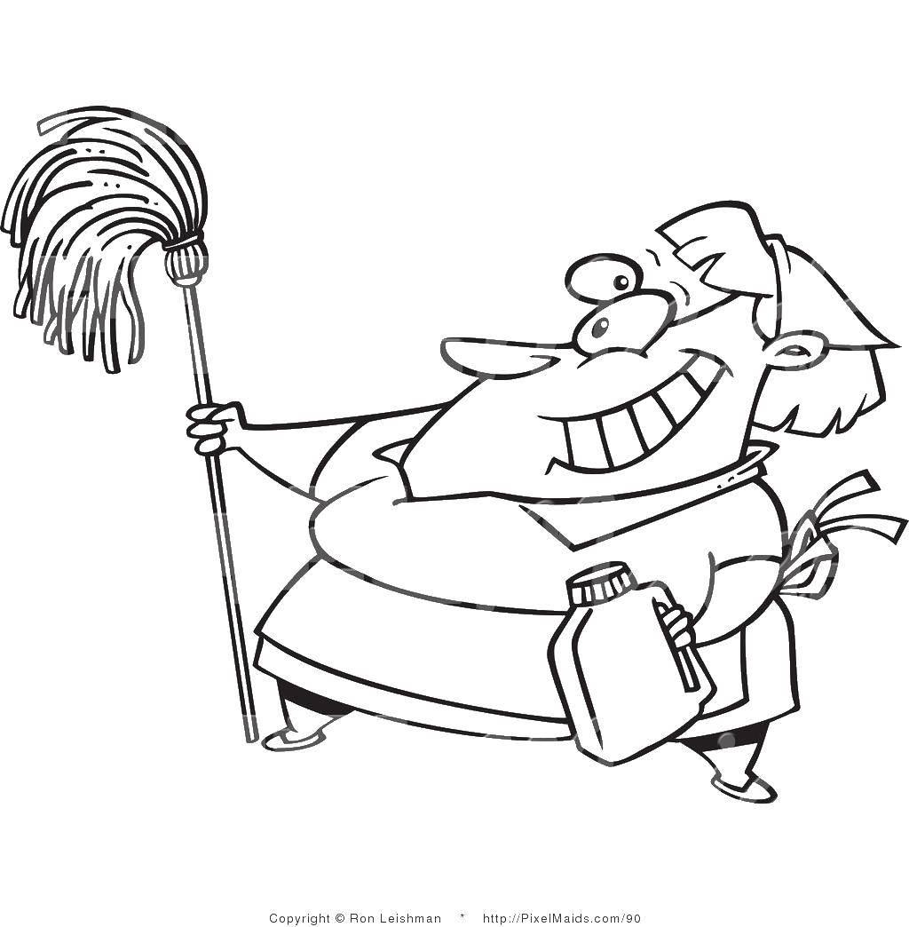 Раскраска Уборщица со шваброй Скачать уборка, уборщица, швабра.  Распечатать ,Уборка,