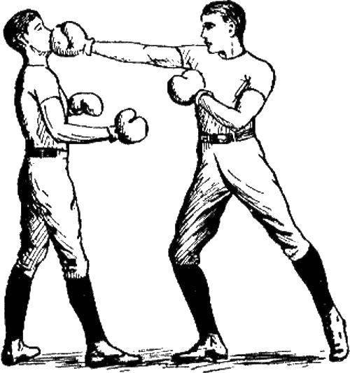 Раскраска Удар в лицо Скачать Спорт, бокс.  Распечатать ,бокс,