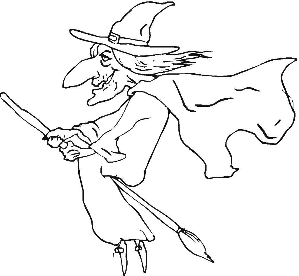 Раскраска Ведьма на своей метле. Скачать Хэллоуин, ведьма.  Распечатать ,ведьма,