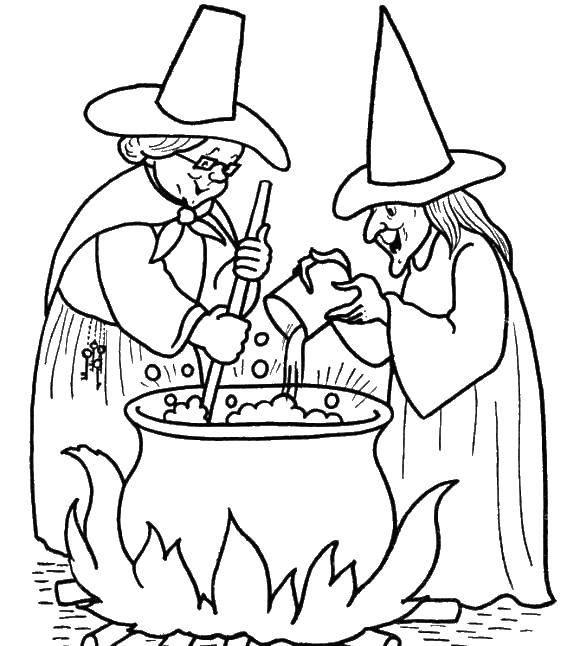 Раскраска Ведьмы варят зелье в котле. Скачать ведьмы.  Распечатать ,ведьма,