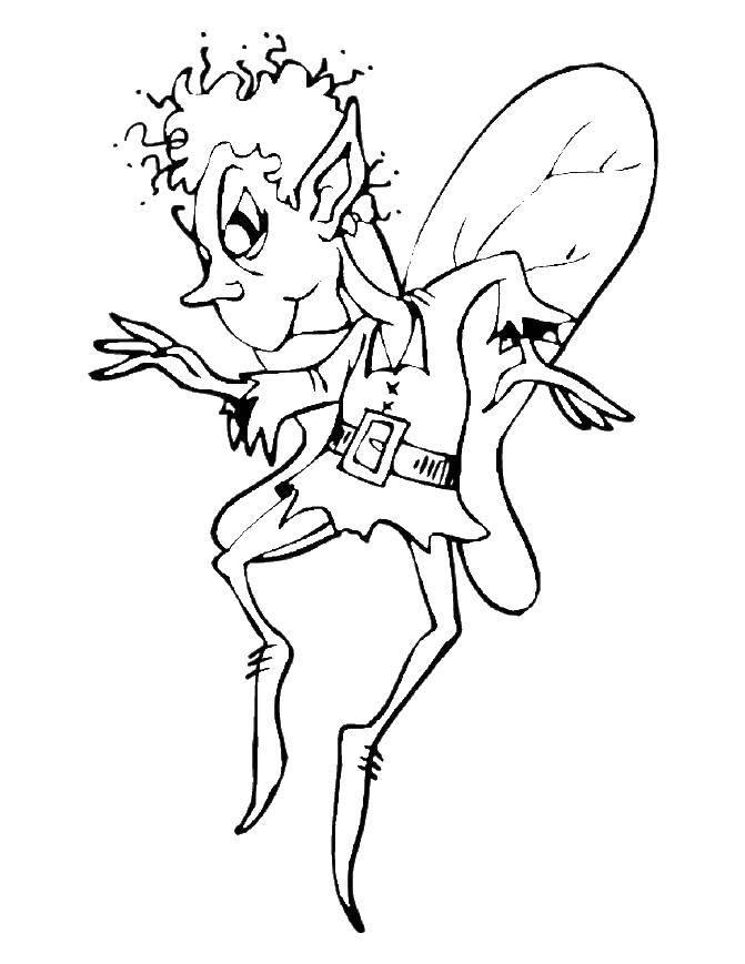 Раскраска Злой эльф с крыльями Скачать эльф, крылья.  Распечатать ,Фэнтези,