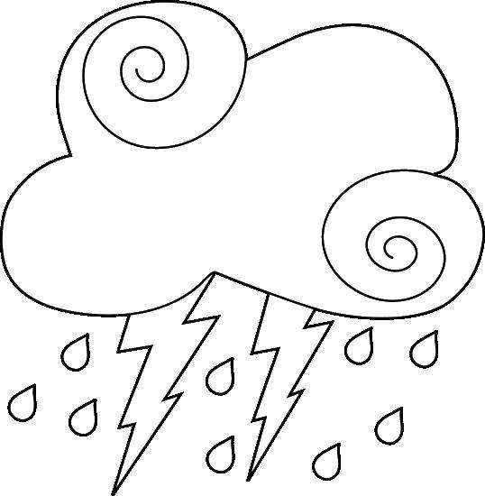 Раскраска Небо Скачать ,дождь, тучи, гроза, молния,.  Распечатать