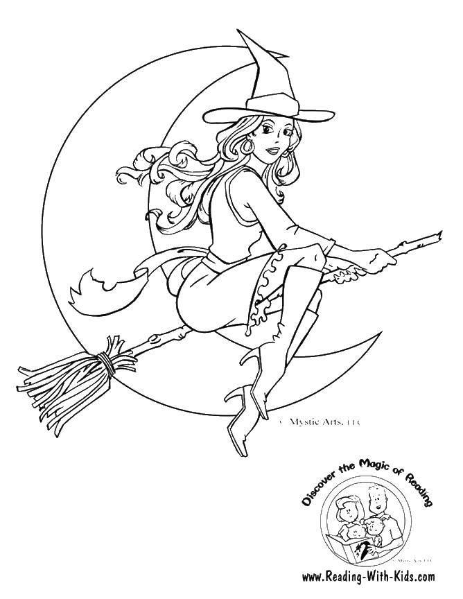 Название: Раскраска Красивая ведьмочка. Категория: ведьма. Теги: Хэллоуин, ведьма, ночь, метла.