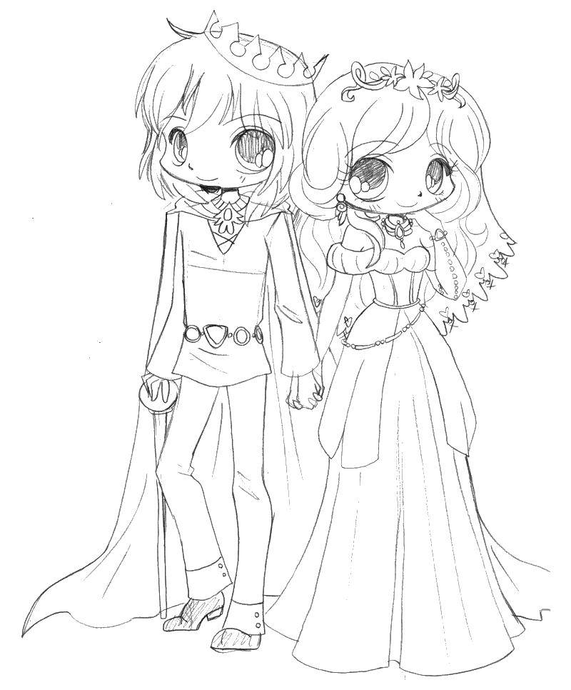 Раскраски принцесса, Раскраска Принц и принцесса в аниме ...
