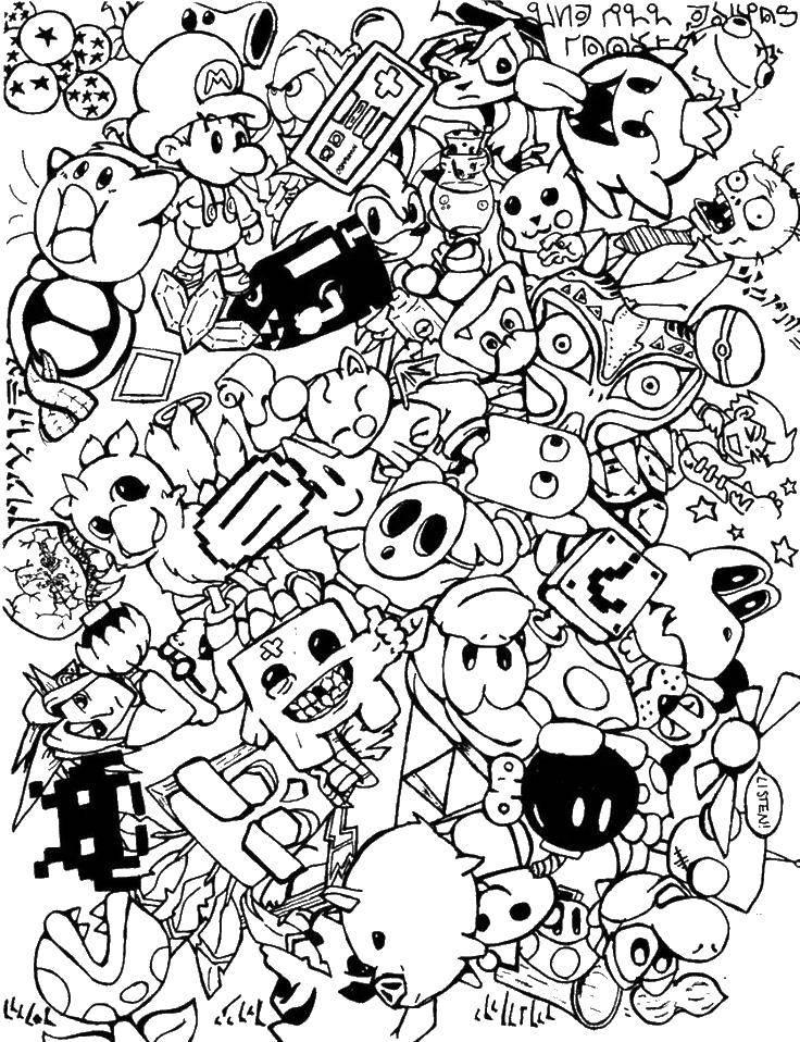 раскраски игр раскраска различные персонажи мультфильмов и