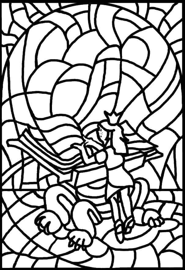 Название: Раскраска Витраж ангел. Категория: витражи. Теги: витражы, ангел.