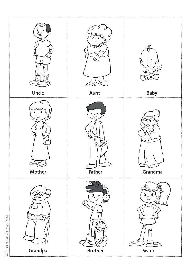 Раскраска Члены семьи по именам Скачать ,Члены семьи,.  Распечатать
