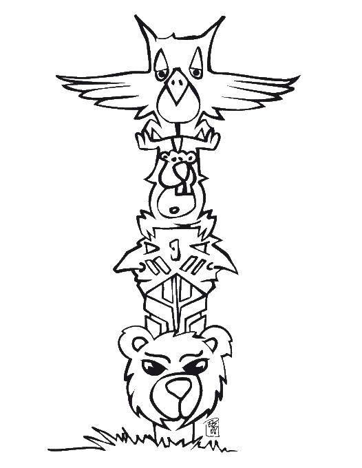 Раскраска Деревянная статуя индейцев Скачать индейцы.  Распечатать ,индейцы,