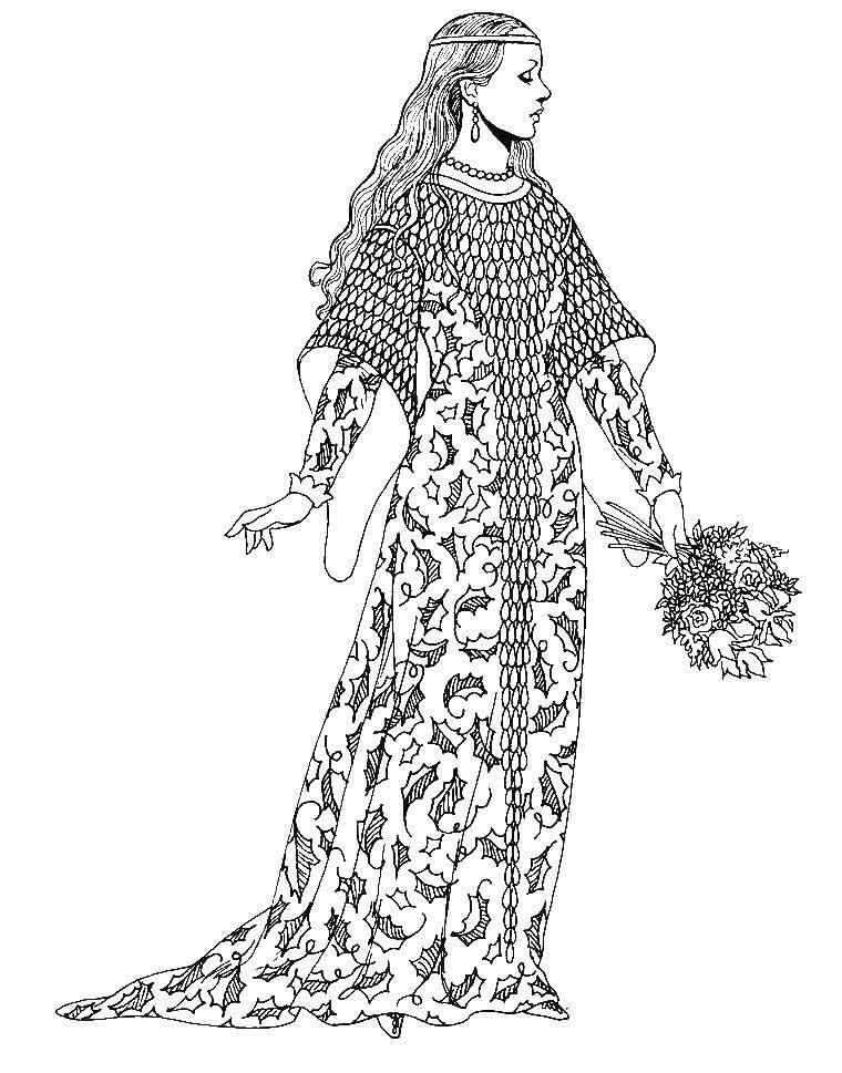 Раскраска Одежда Скачать принцессы, диснея.  Распечатать ,принцесса,