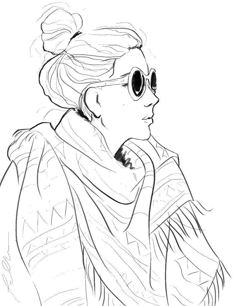 Раскраска Девушка в очках и в шарфе Скачать ,девушка, очки,.  Распечатать