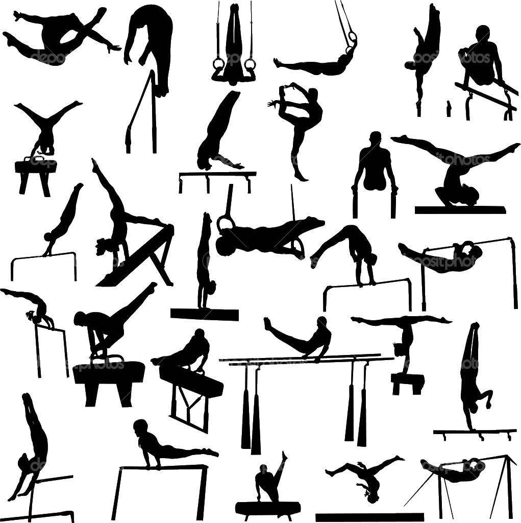 Раскраска Гимнастические трюки Скачать Спорт, гимнастика.  Распечатать ,гимнастика,