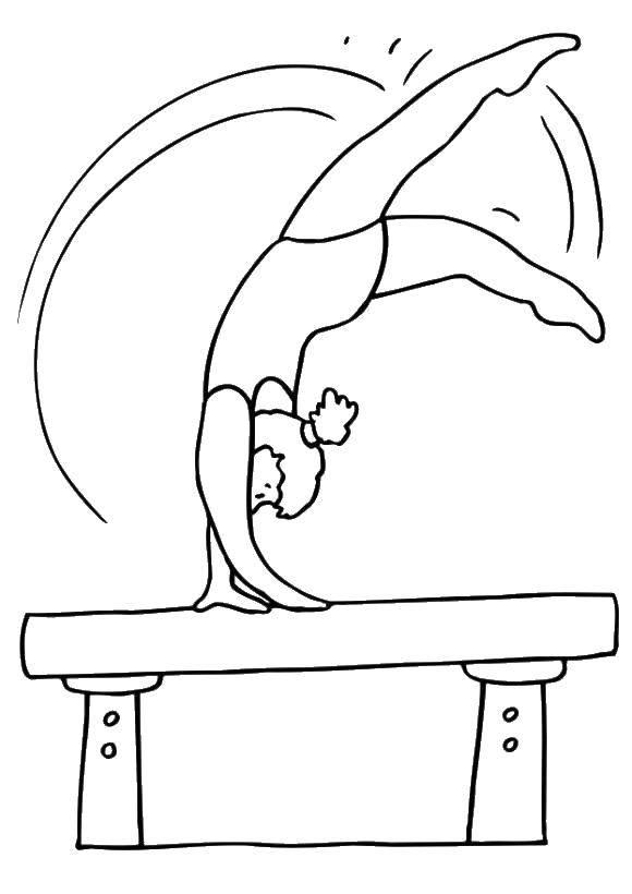 Раскраска Гимнастика на бревне Скачать спорт, гимнастика, гимнастка.  Распечатать ,гимнастика,