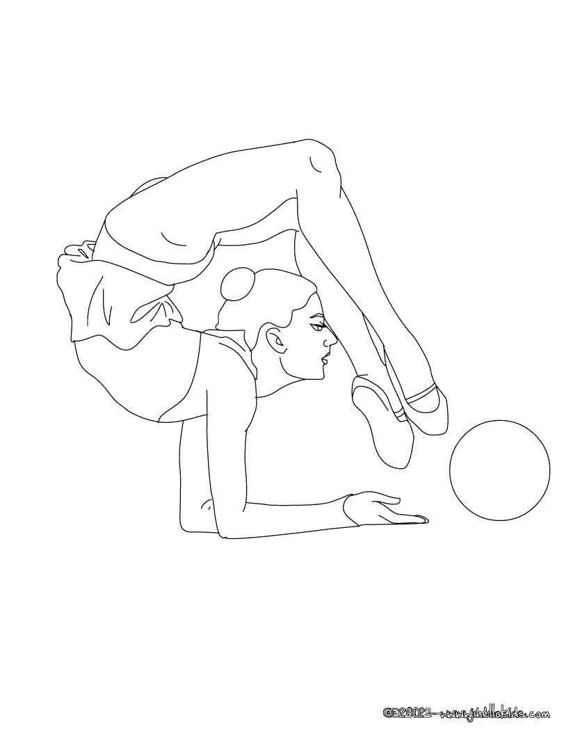 Раскраска Гимнастика с мячом Скачать Спорт, гимнастика.  Распечатать ,гимнастика,